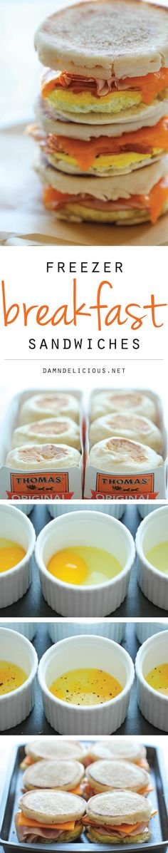 Hopefully these can put an end to my husband's costly Starbucks breakfast sandwich habit.Freezer Breakfast Sandwiches - Easy, make-ahead freezer-friendly sandwiches, perfect for breakfast-on-the-go! Ready in just 2 minutes! Breakfast Desayunos, Breakfast On The Go, Breakfast Dishes, Breakfast Recipes, Breakfast Ideas, Frozen Breakfast, Breakfast Casserole, Freezer Breakfast Sandwiches, Cooking Recipes