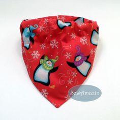 Penguins in Snowflakes Winter Dog Bandana, Collar Slipcover style, Medium | SewAmazin's Studio @sewamazin
