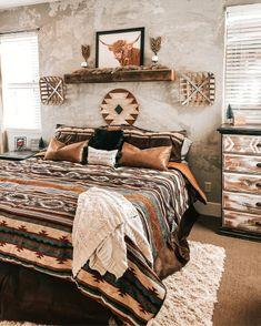 Western Bedroom Decor, Western Rooms, Western House Decor, Country Teen Bedroom, Western Bedding, Room Ideas Bedroom, Home Decor Bedroom, Bed Room, Aesthetic Bedroom