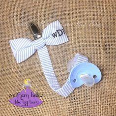 Seersucker Pacifier Clip, Monogrammed Seersucker Bow Tie Pacifier Clip, Paci Clip, Baby Boy Gift, Gift for Baby Boy, Boy Baby Shower Gift by BellesLikeBigBows on Etsy https://www.etsy.com/listing/245908866/seersucker-pacifier-clip-monogrammed