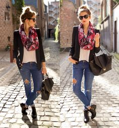 Boyfriend Blazer, Scarf, Hollister Ripped Jeans, Cut Out Boots, Bag
