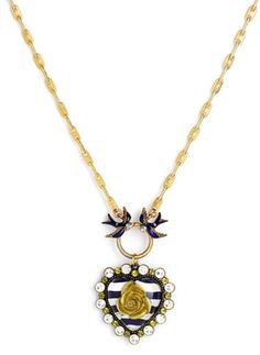Oh Betsey! <3In the Navy Heart Pendant Necklace    Price: $35.90 at shop.nordstrom.com
