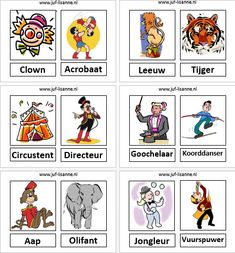 www.juf-lisanne.nl Woordkaarten bij het thema circus. Circus Clown, Circus Theme, Speech Language Therapy, Speech And Language, Primary School, Elementary Schools, Kindergarten Activities, Preschool, School Themes