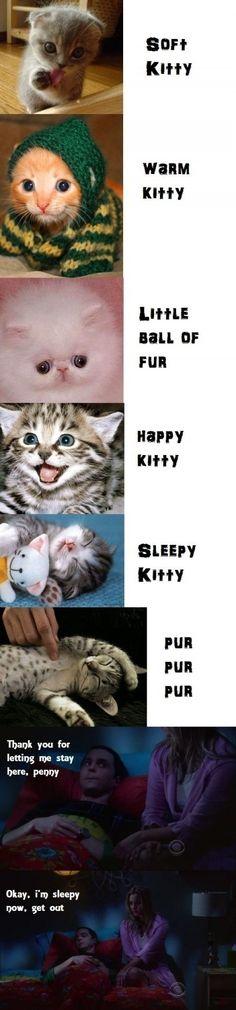 Soft kitty warm kitty little ball of fur, happy kitty sad kitty purr purr purrrr:)
