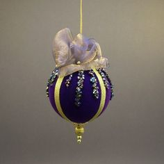 Towers & and Turrets Handmade Gold Blue Beaded Velvet Christmas Ornament Ball