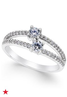 It's double the sparkle with this Two Souls, One Love diamond engagement ring (1/2 ct. t.w.) featuring two full-cut diamonds and a split shank accented by smaller diamonds and set in 14k white gold. See it now at macys.com.