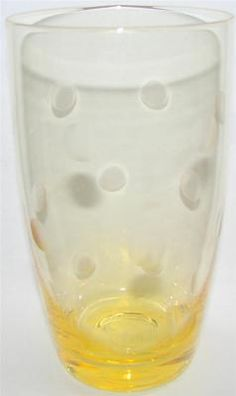 Noble Excellence Glass Tumbler Highball etched POLKA DOT Yellow - Amber