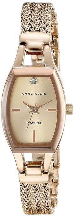 Anne Klein Women's AK/2184RGRG Diamond-Accented Dial Rose Gold-Tone Mesh Bracelet Watch *** Click on the image for additional details.