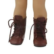 Fashion Brown Lace Up Boots Shoes for 18inch American Girl Dolls Party Dress