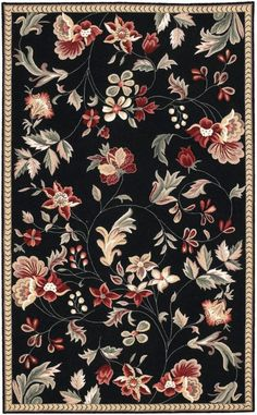 Buy the Surya Black Direct. Shop for the Surya Black Flor x Rectangle Wool Hand Hooked Floral Area Rug and save. Motif Floral, Floral Prints, Tapete Floral, Flor Rug, Transitional Area Rugs, Floral Area Rugs, Round Area Rugs, Textile Patterns, Floral Patterns