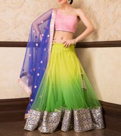 #Multicoloured Thread And Zari #Ombre #Lehenga With Choli And Dupatta by #Sanskriti at #Indianroots