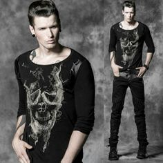 Men Alternative Black Skull Long Sleeve Punk Emo Scene Tops Clothing SKU-11409341