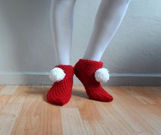 Christmas Slippers Red Slippers Women Slippers by fizzaccessory