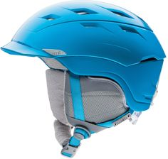 Stay safe on the ski slopes with a bright blue helmet.