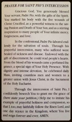 Prayer to St Padre Pio