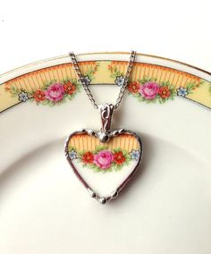 Broken china jewelry heart pendant necklace pink roses made from a broken plate