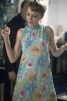 """Mia Farrow in beaded and sequined mini by Pierre Cardin for the film """"A Dandy in Aspic"""", photo by Bill Epperidge, May 1967 Mod Fashion, 1960s Fashion, Fashion Week, Vintage Fashion, Dress Fashion, Robes Vintage, Vintage Dresses, Vintage Outfits, Mia Farrow"""