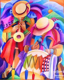 LORENZO Y PEDRO ARNOLDO   CRUZ SUNU   PINTORES DE SAN PEDRO LA LAGUNA   SOLOLÁ   GUATEMALA     SI LES INTERESA ALGUNA OBRA PUEDEN CONTAC... Cuban Art, Mexican Art, Peruvian Art, Haitian Art, Dance Paintings, Southwestern Art, Music Artwork, Funky Art, Naive Art