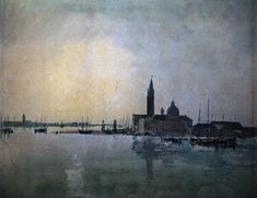 Joseph Mallord William Turner San Giorgio Maggiore at Dawn, , Tate Gallery, London. Read more about the symbolism and interpretation of San Giorgio Maggiore at Dawn by Joseph Mallord William Turner. Joseph Mallord William Turner, Turner Watercolors, Turner Painting, Bd Art, Joseph Williams, English Romantic, Tate Gallery, Watercolor Landscape Paintings, Watercolor Paper