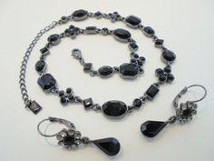 Vintage Jet Black Necklace / Earring Rhinestone Set by KathiJanes