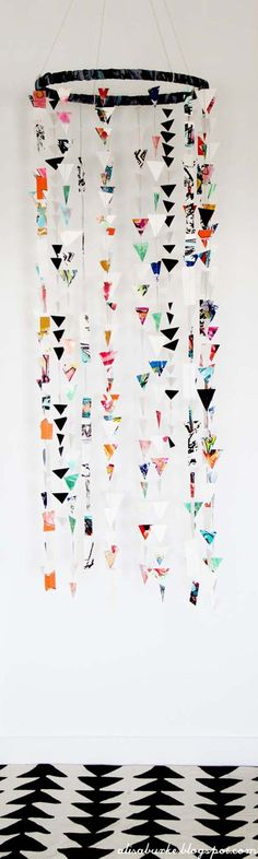 Cool Things to Make With Leftover Wrapping Paper - Paper Mobile- Easy Crafts, Fun DIY Projects, Gifts and DIY Home Decor Ideas - Don\'t Trash The Christmas Wrapping Paper and Learn How To Make These Awesome Ideas Instead - Creative Craft Ideas for Teens, Tweens, Teenagers, Boys and Girls diyprojectsfortee...