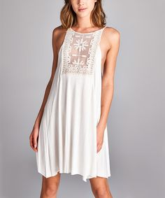 Another great find on #zulily! Ivory Lace-Panel Sleeveless Dress #zulilyfinds