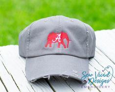 7c2a8bbb Alabama Crimson Elephant Distressed Baseball Cap, High Ponytail Hat, Messy Bun  Cap, Roll Tide