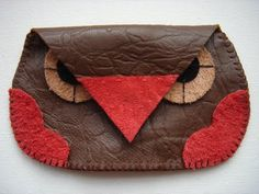 Hand sewn owl purse - from leather scraps