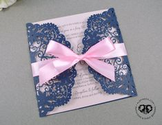 Vintage romantic navy blue lace and blush pink laser cut invitation. Fancy, classy, vintage, modern, beautiful. Pink satin ribbon. Wedding, Quinceañera, sweet 16, bridal shower, birthday party. Custom