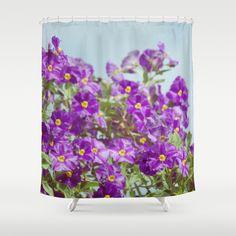 With Glee Shower Curtain by RichCaspian - $68.00 #showercurtain #shower #curtain #bath #bathroom #tub #floral #flowers #purple #homedecor #blue #vintage #garden
