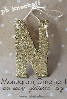 glitter monogram ornament. a pottery barn knock-off. easy to make with cardboard, glue, and glitter!