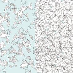Yukari Tori - #イラスト、#アート、#金魚、#魚、#葉、#コピックマルチライナー、#illustration, #art, #fish, #foliage, #copic multiliner, #drawing, #иллюстрация, #рыбки, #листья, #yukari_tori_illustration
