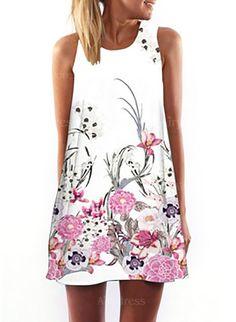 Vestidos Floral Sobre las rodillas Sin mangas (1048288) @