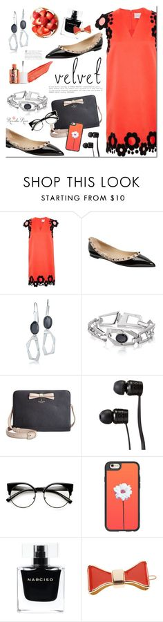 """""""Summer to Fall Velvet"""" by mada-malureanu ❤ liked on Polyvore featuring Christopher Kane, Valentino, Kate Spade, Vans, Casetify, Narciso Rodriguez, L. Erickson, Silver, jewelry and velvet"""