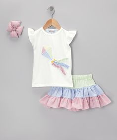 Take a look at this Green & Blue Kite Seersucker Skirt Set - Infant & Toddler on zulily today!