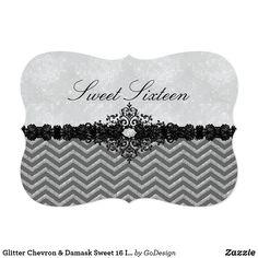Glitter Chevron & Damask Sweet 16 Invitation Matching products in the GoDesign store! Custom birthday party invitations / invites #invitations #invites #birthdayparty  #sweetsixteen #sweet16
