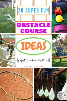 Fun and easy obstacle course ideas for kids! Let them blow off some steam inside or if the weather is nice take these ideas outside! Creative Activities For Kids, Gross Motor Activities, Movement Activities, Kids Learning Activities, Indoor Activities, Physical Activities, Dementia Activities, Indoor Games, Party Activities