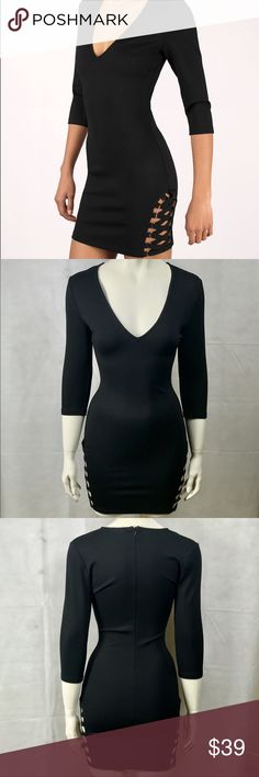 """NWOT Tobi Plunging Bodycon Dress """"Miss Me Much"""" black colored bodycon dress from Tobi. Has a plunging neckline, side lace detailing, and zip up back. Size XS. PLEASE NOTE *this is from my own personal closet and I've only worn it once on Valentine's Day 2015, I will NOT accepting offers on this item* Tobi Dresses Mini"""
