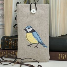 Glasses Spectacles Case Handmade Blue Tit Nature Wildlife Fathers Day Gift £14.00