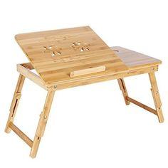 MERVY – LA MOINS CHERE D'AMAZON ! Table de lit pliable pour PC portable/notebook + tiroir. Plateau de petit déjeuner – le petit déjeuner au…