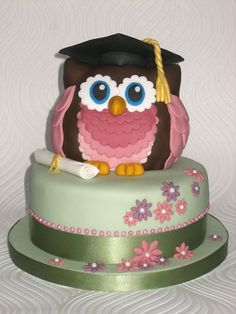 Owl Graduation Cake - green, pink, lilac, shabby chic, scroll, mortar board.