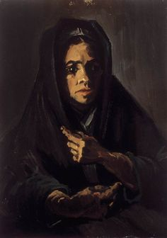Woman with a Mourning Shawl - Vincent van Gogh . Created in Nuenen in March - May, Located at Van Gogh Museum. Find a print of this Oil on Canvas Painting Arte Van Gogh, Van Gogh Art, Art Van, Vincent Van Gogh, Paul Signac, Paul Gauguin, Van Gogh Portraits, Portrait Paintings, Van Gogh Pinturas