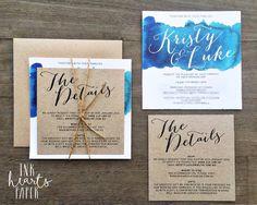 Wedding Invitations - Ink Hearts Paper blue aqua ocean watercolour watercolor beach island theme kraft rustic water                                                                                                                                                     More
