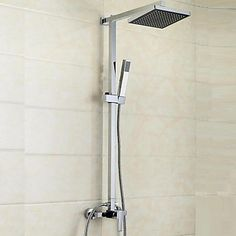 Modern Douchesysteem Waterval Inclusief handdouche with Keramische ventiel Single Handle drie gaten for Chroom Douche