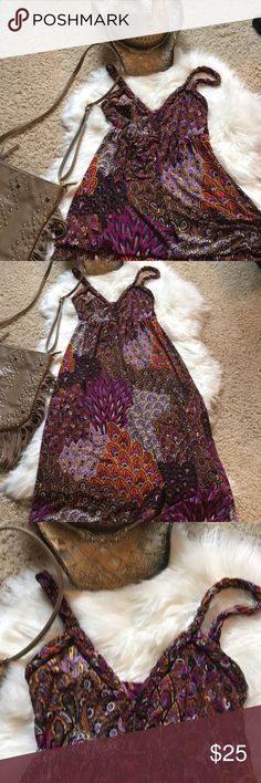 Trendy maxi dress with braided straps Love this dress! So comfy and the colors are great on anyone. Purple and brown with a splash of orange make this the maxi your want. Moa Moa Dresses Maxi