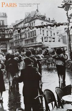 Dancing in Paris France Street Cafe Travel Poster 24x36