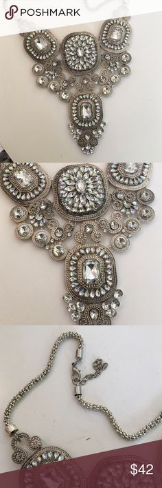 Ornate over-the-top statement necklace This unbelievable over-the-top statement necklace is super sparkly and huge. Turn any playing outfit into a wow outfit. Where with a little black dress or jeans and a tank. Either way you will be turning heads Jewelry Necklaces