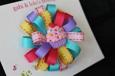 Cupcake Hair Bow  Birthday Cupcake  Pink Turquoise by GabiAndLolos, $8.00