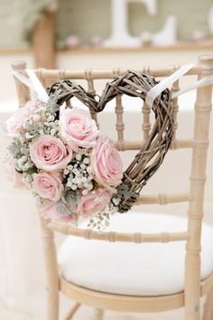 Diy wedding decorations gorgeous wedding chair decorations with pink roses and heart shaped wreath diy wedding . Trendy Wedding, Perfect Wedding, Wedding Day, Wedding Rustic, Budget Wedding, Rustic Weddings, Outdoor Weddings, Romantic Weddings, Elegant Wedding