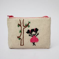 dancing girl coin purse -- hand embroidery on linen by NIARMENA on Etsy https://www.etsy.com/listing/155009811/dancing-girl-coin-purse-hand-embroidery